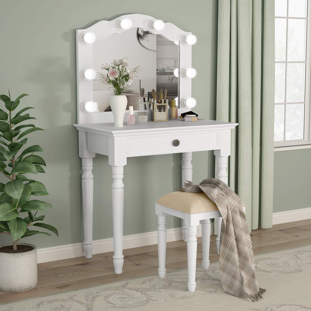 Tribesigns White Vanity Set with Lighted Mirror, Makeup Dressing Table and Stool Set with Large Drawer, Dresser Table Set for Women (White) by Tribesigns (Image #3)