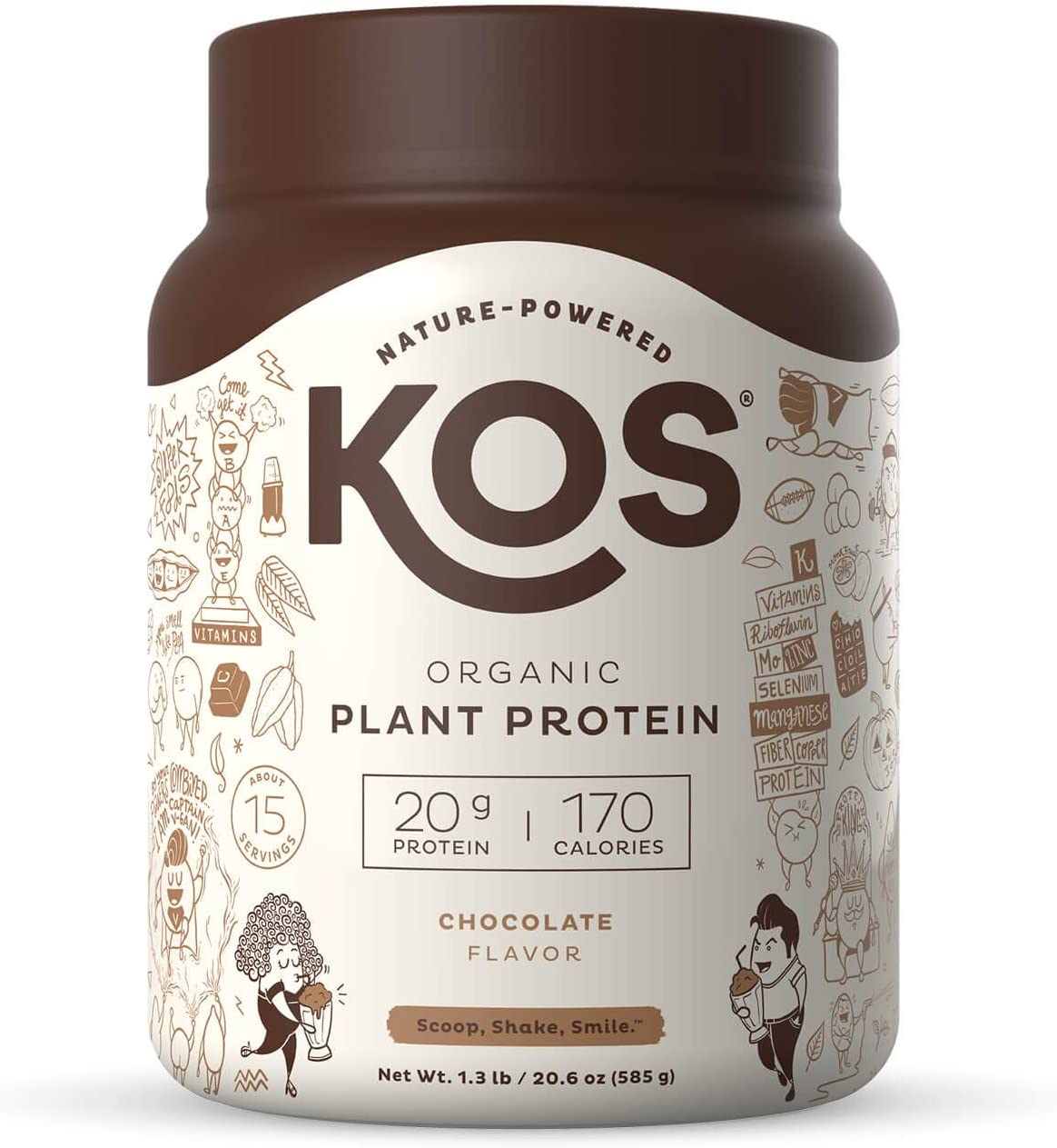 KOS Proteína en polvo orgánico a base de plantas - Mezcla de proteínas veganas orgánicas crudas, 1.3 libras, 15 porciones, 15 Servings, 1