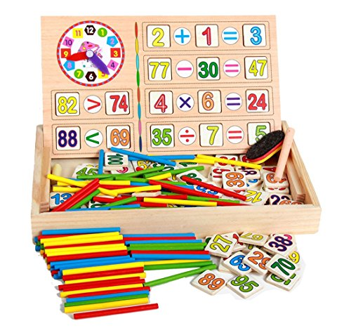 Wooden Montessori Math Toys Digital Stick Learning Box for Preschool Education (Preschool Toy Box)