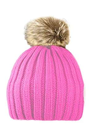 8c18f1f457c Children s Ribbed Hat with Solid Faux Fur Pom Pom Warm Bobble Hats (Pale  Pink)
