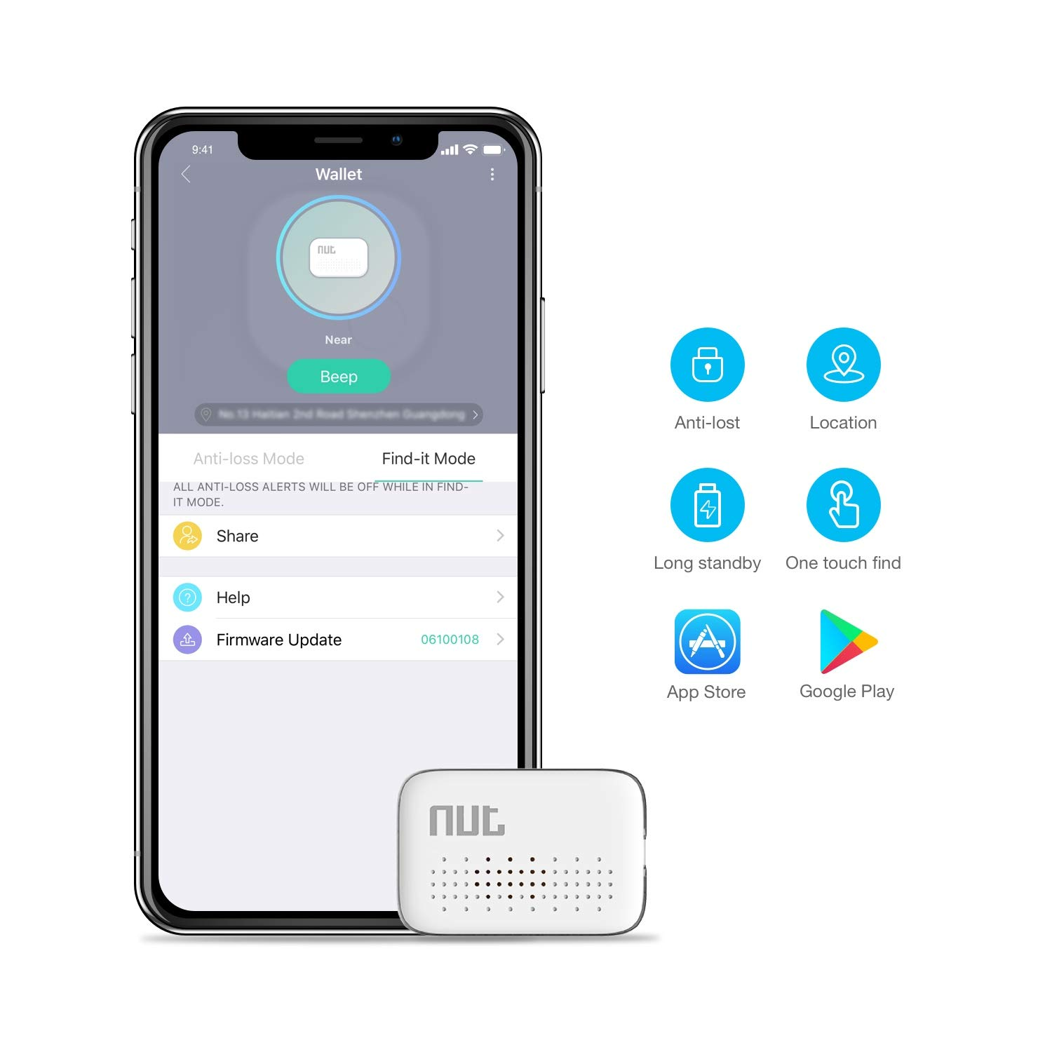 Mini Key Finder, Wonbo Anti-Lost Bluetooth Tracking Locator for Keys, Phones, Wallets, Bags with APP Control Compatible with iOS & Android (White)