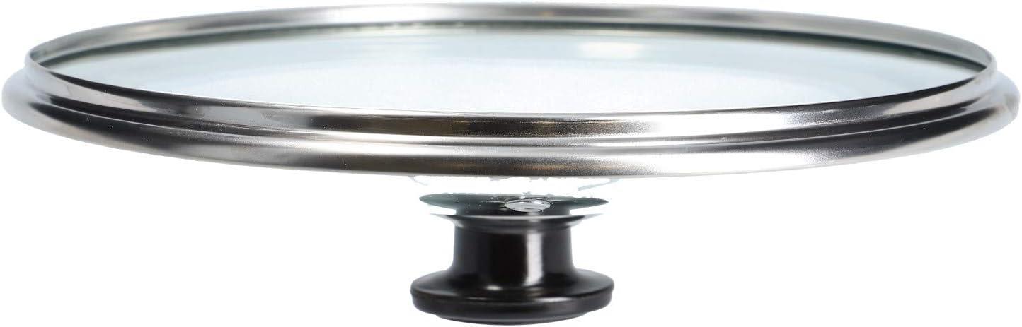 LUTH Premium Profi Parts Couvercle en Verre Universel avec poig/ée /à Bouton et Rebord de Protection en Acier Inoxydable pour casseroles et po/êles 160mm