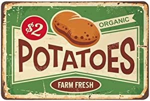AOYEGO Potatoes Tin Sign,Farm Fresh Organic Food Vintage Metal Tin Signs for Cafes Bars Pubs Shop Wall Decorative Funny Retro Signs for Men Women 8x12 Inch