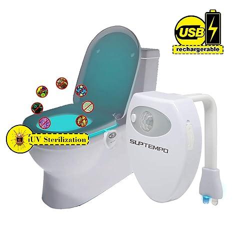 Recargable Esterilizadora UV WC Luz de inodoro - GLAMSVILL Impermeable LED Luz Nocturna con 16 Colores