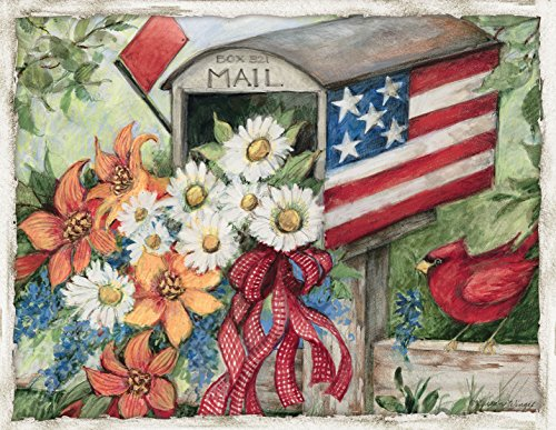 Lang  Flag Mailbox Boxed Note Cards by Susan Winget, 4 x 5.25 inches, 13 Cards and Envelopes  (1005341)