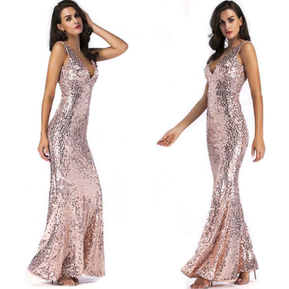 SPFAZJ 2019 Women's Explosions Sequined VNeck Sexy Dress