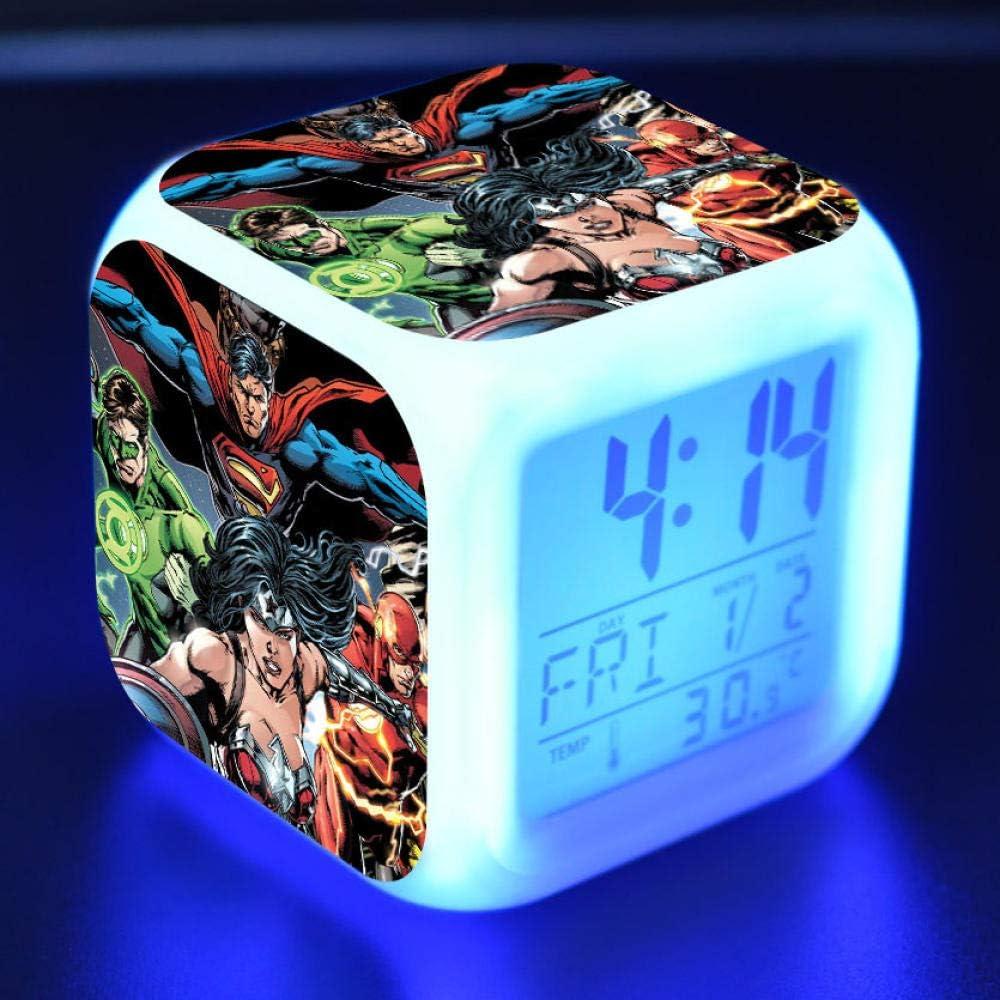Reloj despertador para niños Reloj despertador digital de cabecera Reloj despertador con puerto de carga USB LED Luz de noche colorida Reloj despertador pequeño iluminado Silencio W2221