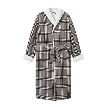 Pijamas Batas Batas de Estilo Europeo y Americano para Hombres, túnica a Cuadros Gris,