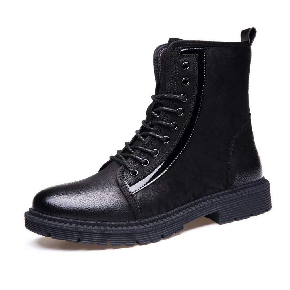 Hy Herrenschuhe, Leder Herbst/Winter-High-Top-Martins-Stiefel, Komfort-Slip-On-Fahrschuhe, formelle Geschäft-Schuhe, Arbeitsschuhe für Stiefel (Farbe : Schwarz, Größe : 38)