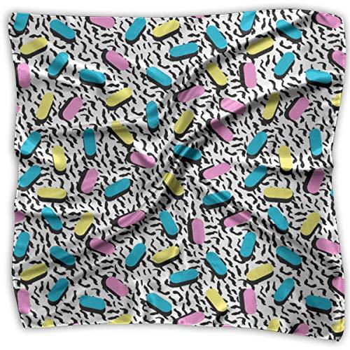 Field Rain 80s Memphis Women's Large Square Satin Headscarf Silk Like Neck Bandana Kerchief
