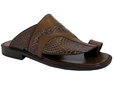 In Men's Push Toe Italian Dressy Leather Davinci 3842 Brown Sandals K1clFTJ