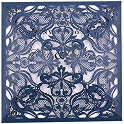 Laser Cut Invitations 50 Pack FOMTOR Laser Cut Wedding Invitations Card Kit with Blank Printable Paper and Envelopes for Wedding,Birthday Parties,Baby Shower Navy Blue