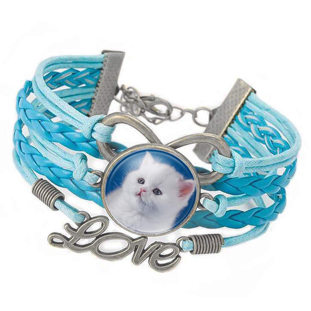 Cfeminin P'tite Lady® Magnifique Bracelet Femme et Fillette Simili Cuir Bleu avec cabochon en Verre Chaton PU Cuir