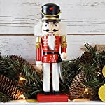 Christmas Holiday Wooden Nutcracker Figure Soldier Doll with Traditional Red Jacket Uniform with Gold Details, Large, 10 Inch