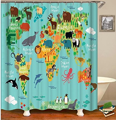 Wild Animals Polyester Shower Curtain - Hersent African Wild Animals World Map Shower Curtain 3D Digital Printed Art Decor Polyester Fabric Mildew Proof Waterproof Bathroom Bath Curtains HYC38-US #8 71