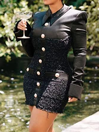 Tomwell elegancka damska sukienka z długim rękawem, dekolt w szpic, jednokolorowa, solidna sukienka biznesowa, długa sukienka biurowa, minisukienka z bluzką: Odzież