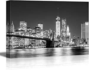 wall26 - Canvas Prints Wall Art - The Manhattan Skyline and Brooklyn Bridge at Night in Brooklyn, New York. | Stretched Gallery Canvas Wrap Giclee Print. Ready to Hang - 16x24