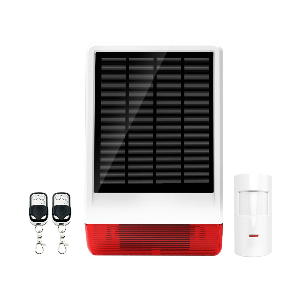 ERAY Outdoor Home Alarm Siren Solar Powered with Strobe, Burglar Security System DIY Kit, with 1 PIR Motion Detector Sensor and 2 Remote Controls, Up to 120dB by Eray