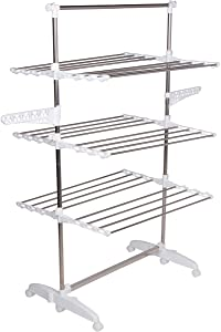 High Capacity 3-Tier Premium Clothes Drying Rack - Fully Adjustable Stainless Steel Racks - Fully Foldable - Wheels (White)