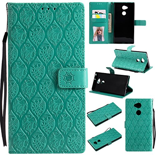 Price comparison product image Sony Xperia XA2 Ultra Case, Xperia XA2 Ultra Wallet Case, Sony XA2 Ultra PU Leather Case, HAOTP Luxury Mandala Rattan Flower Emboss Magnetic Photo Frame Card Slots Holder Flip Cover Kickstand Green