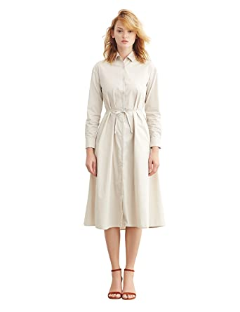 Simple Retro Women&-39-s Cotton Belted Casual Loose Shirt Dress at ...
