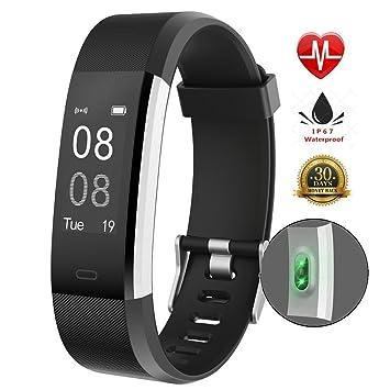 Resistente al agua Smart pulsera Fitness Tracker reloj inteligente podómetro pulsera con monitor de frecuencia cardiaca, Negro: Amazon.es: Deportes y aire ...