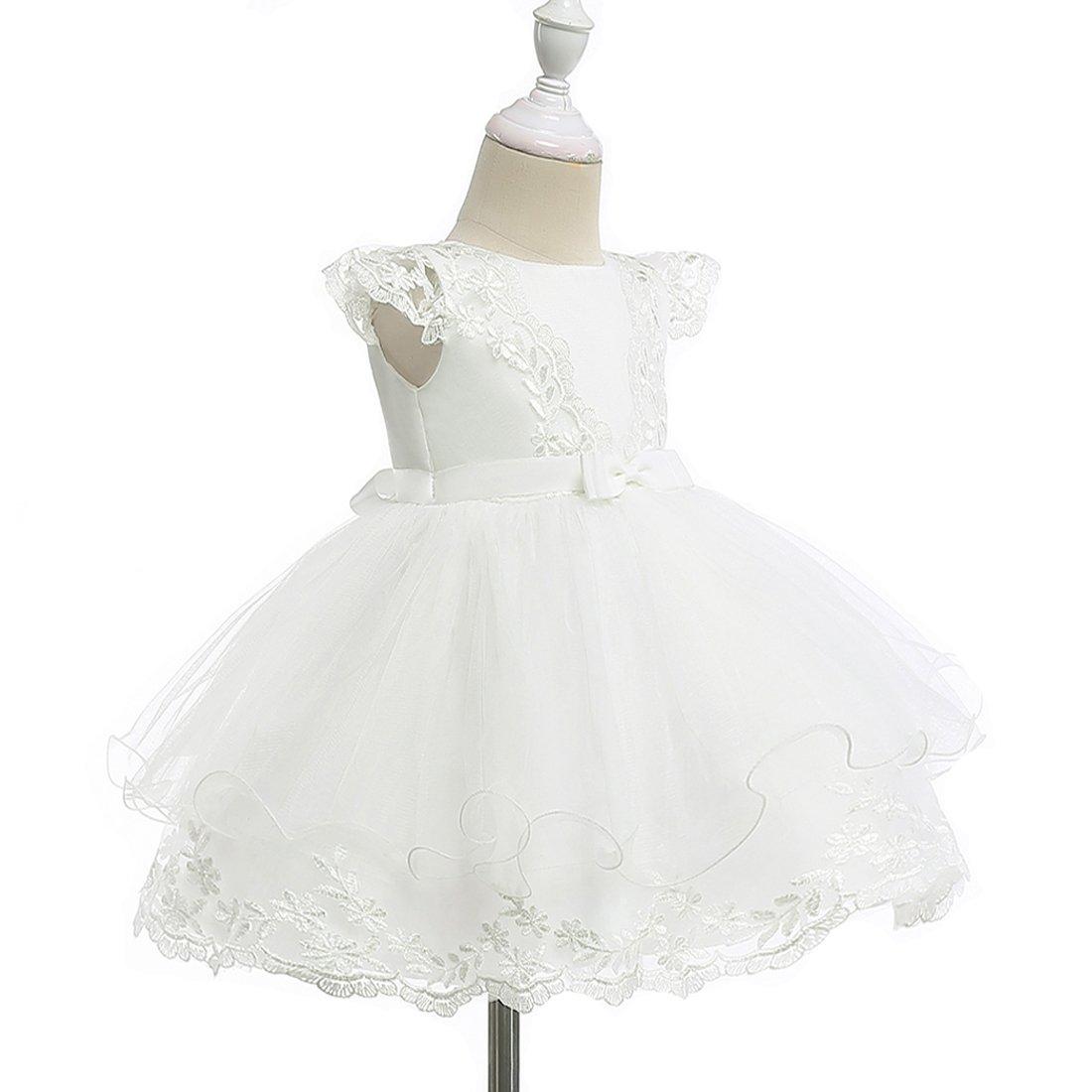 0a1eba671e Vestidos de Bautizo de la Niña Vestido de la Flor del Bordado del Cordón de  la Boda de la Princesa Vestido del Bautismo del Cumpleaños para la Niña  ...