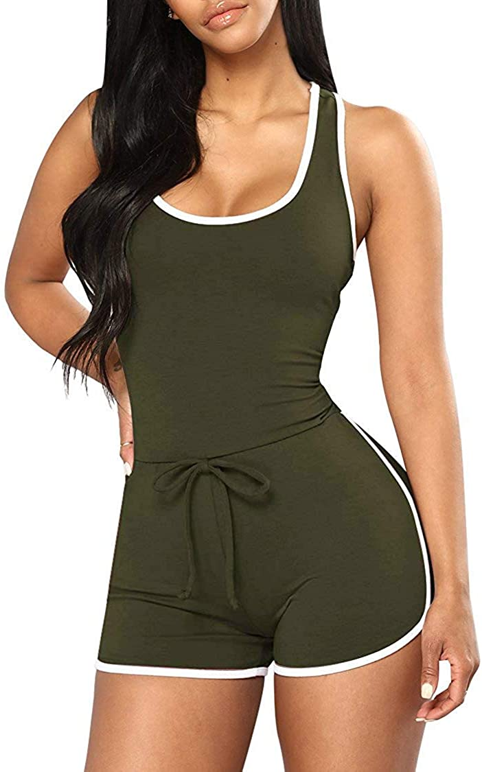 Jescakoo Womens Spaghetti Strap Low-Cut Back Jumpsuits Bodysuits Solid Color
