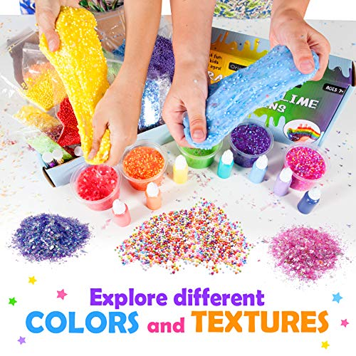 Sequins Making Slime for Girls and Boys Rainbow Kit add ins Original Stationery Slime Supplies Stuff No Glue or Activator Included. Kit Supplies Floam and Fishbowl Beads Flake Glitter Pigment