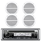 Kenwood Marine Boat Bluetooth CD MP3 Player USB iPod iPhone Input Pandora AM/FM Receiver 4 x 6.5'' Waterproof Speakers, Audio Kit (White)