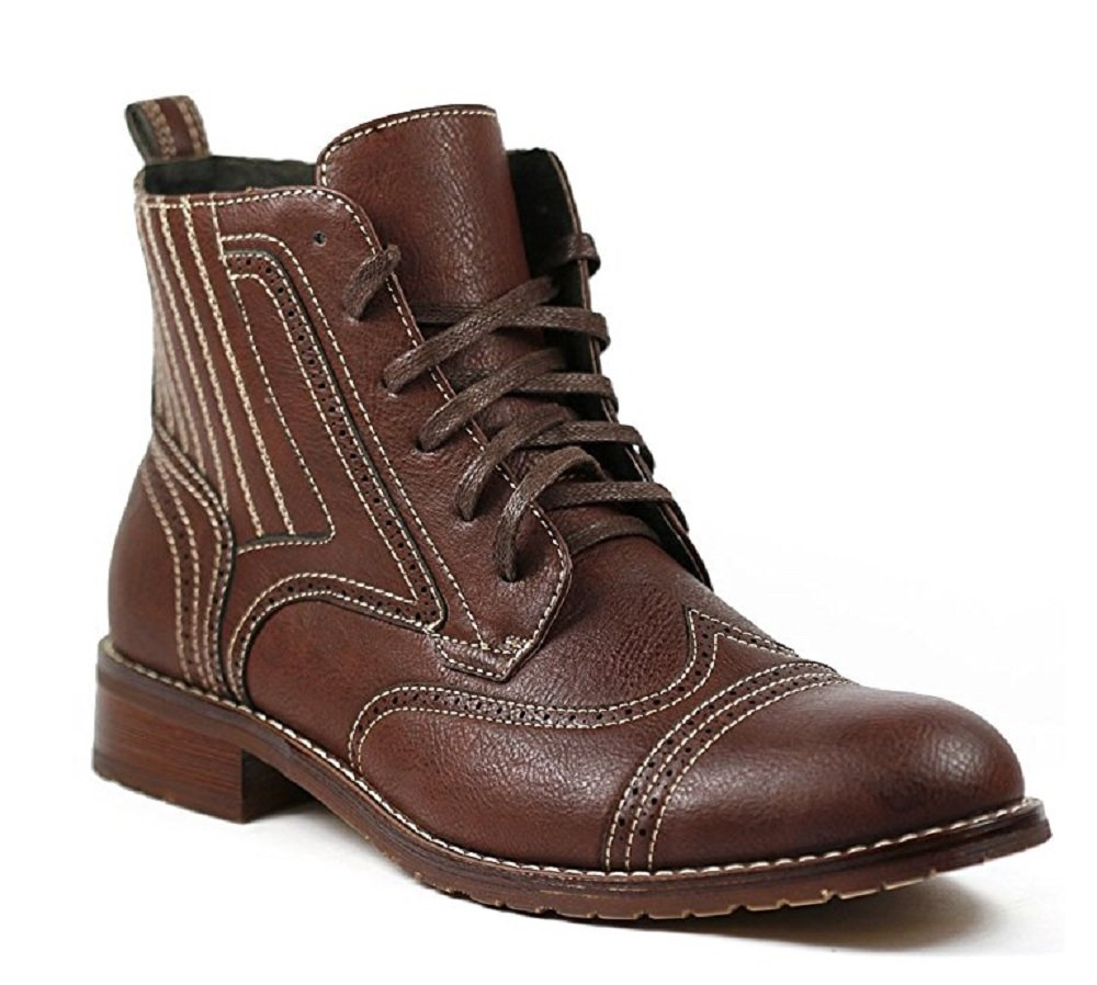 Ferro Aldo Men's 806011 Lace-up Perforated Wing Tip Military Fashion Dress Boots, Brown, 10.5