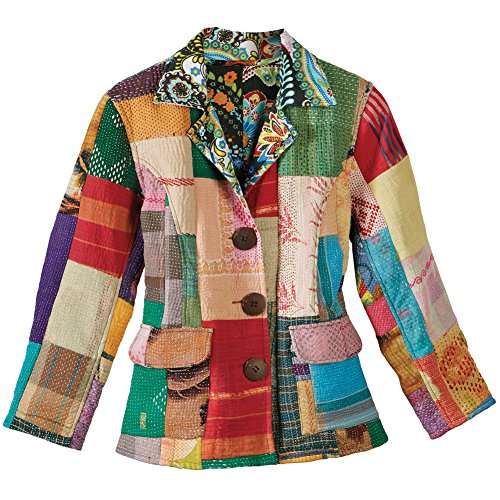Women's Reversible Kantha Colorful Patchwork Jacket - Xxl - Patchwork Embroidered Sweater