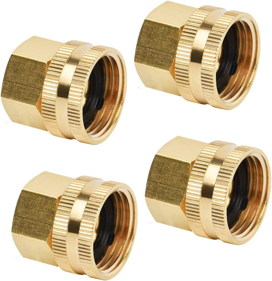 """QLOUNI 4Pack Industrial Metal Brass Garden Hose Threaded 3/4"""" to 1/2"""" NPT Fitting Connector, Thumb Quick Swivel Connector Adapter, Double Female Thread Garden Hose Adapter Size 3/4"""