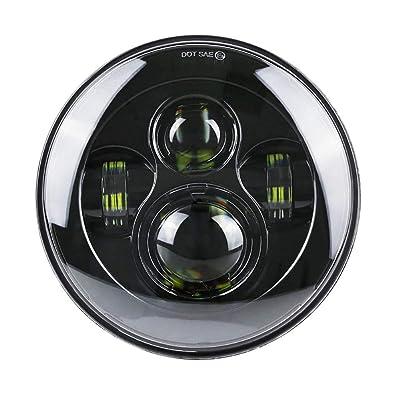 "High Brightest 7"" LED Headlight For Motorcycle Projector LED Light Bulb For Jeep Wrangler JK LJ CJ Headlamp (Black-Generation): Automotive"
