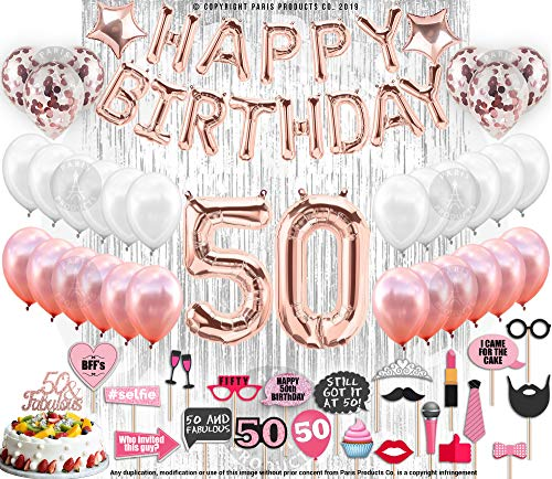 50th Birthday Decorations, 50 Birthday Party Supplies| 50 Cake Topper Rose Gold| Banner| Rose Gold Confetti Balloons for her| Silver Curtain Backdrop Props or Photos 50th Bday -