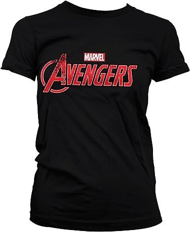 The Avengers Oficialmente Licenciado Distressed Logo Mujer Camiseta: Amazon.es: Ropa y accesorios