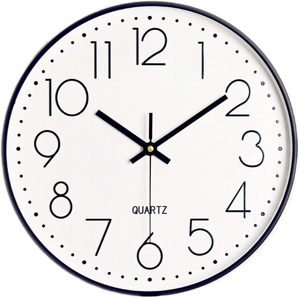 Foxtop 12 Inch Silent Non-Ticking Black Wall Clock Quartz Battery Operated Round Easy to Read Home Office Classroom School Clocks