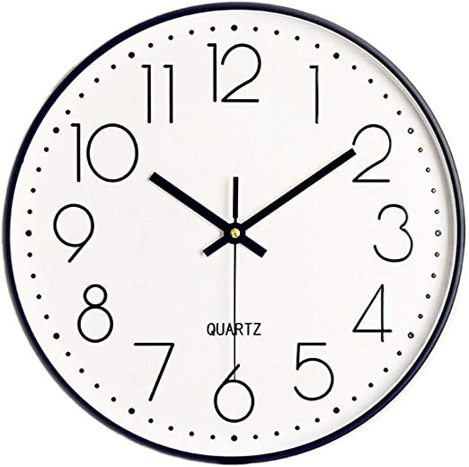 Black Wall Clock Silent Non-Ticking 12 Inch Quality Quartz Battery-Operated