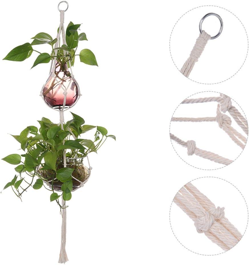 Beige Blumenampel Pflanzenh/änger Seil,Makramee Blumenampel Wand Blument/öpfe zum Aufh/ängen,Garten//Balkon//Zimmer//Wand Dekoration