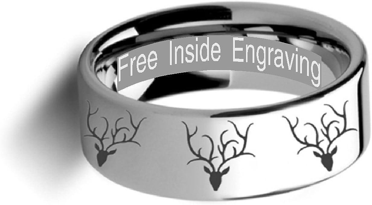 Thorsten Deer STAG Antlers Animal Reindeer Deer Stag Head Print Ring Flat Tungsten Ring 10mm Wide Wedding Band from Roy Rose Jewelry