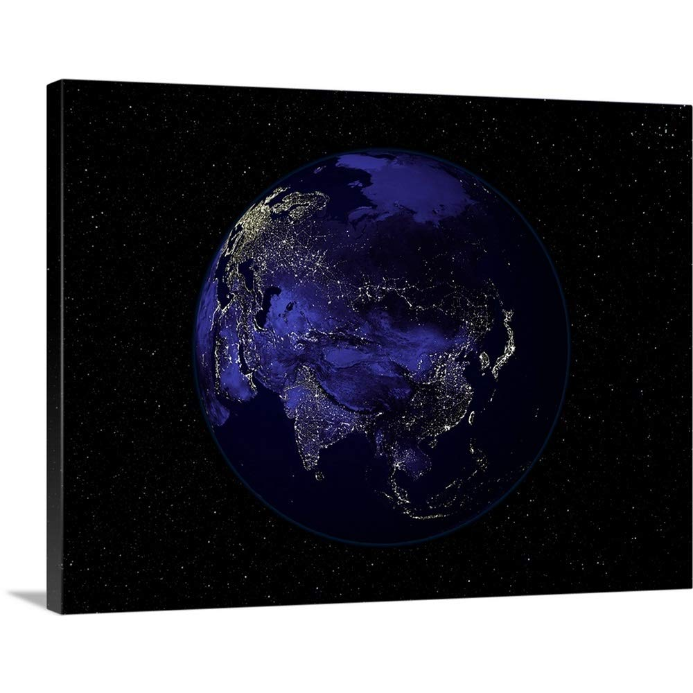 Stocktrekイメージプレミアムシックラップキャンバス壁アート印刷題名フルで地球Night Showing City Lights Centered onアジア 40