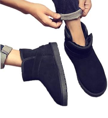 men snow boots winter flat short boots plus velvet warm cotton shoes