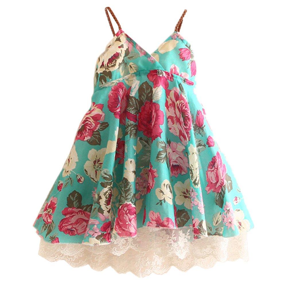 LittleSpring Little Girls Dress Sleeveless Flower Lace SLS-Q0046