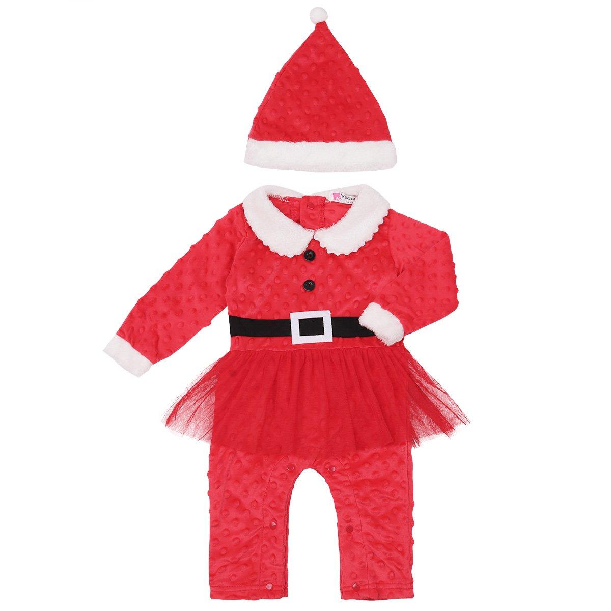 Alvivi Traje de Nieve Bebé Ropa de Invierno Peleles Cálido Mameluco Navidad Monos Manga Larga+Sombrero de Navidad para Niños Niñas