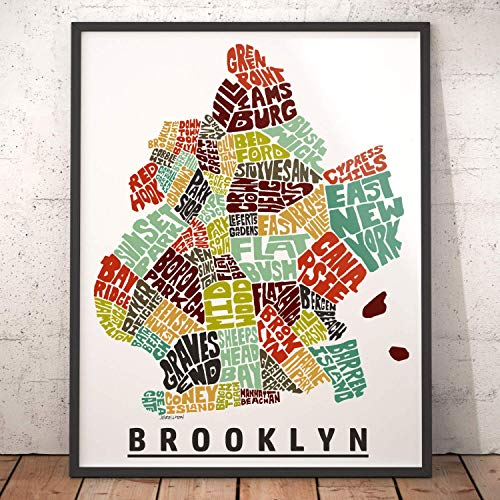 Brooklyn Neighborhood Map Print, signed print of my original hand drawn Brooklyn typography map art