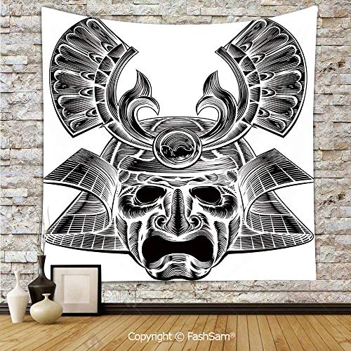 FashSam Polyester Tapestry Wall Vintage Ancient Experienced Japanese Soldier Mask with Royal Lines and Shapes Hanging Printed Home Decor(W51xL59)