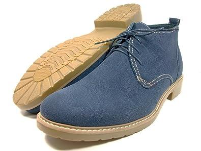 Amazon.com | Mens Ferro Aldo Blue Desert Boots Faux Suede Ankle ...