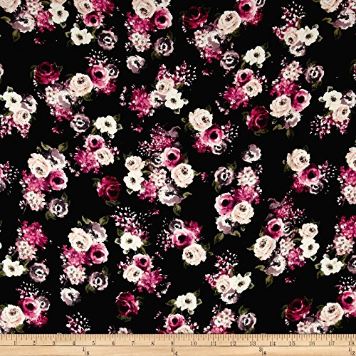 Apparel Mauve (Rayon Challis English Floral Black/Mauve/Ivory Fabric By The Yard)