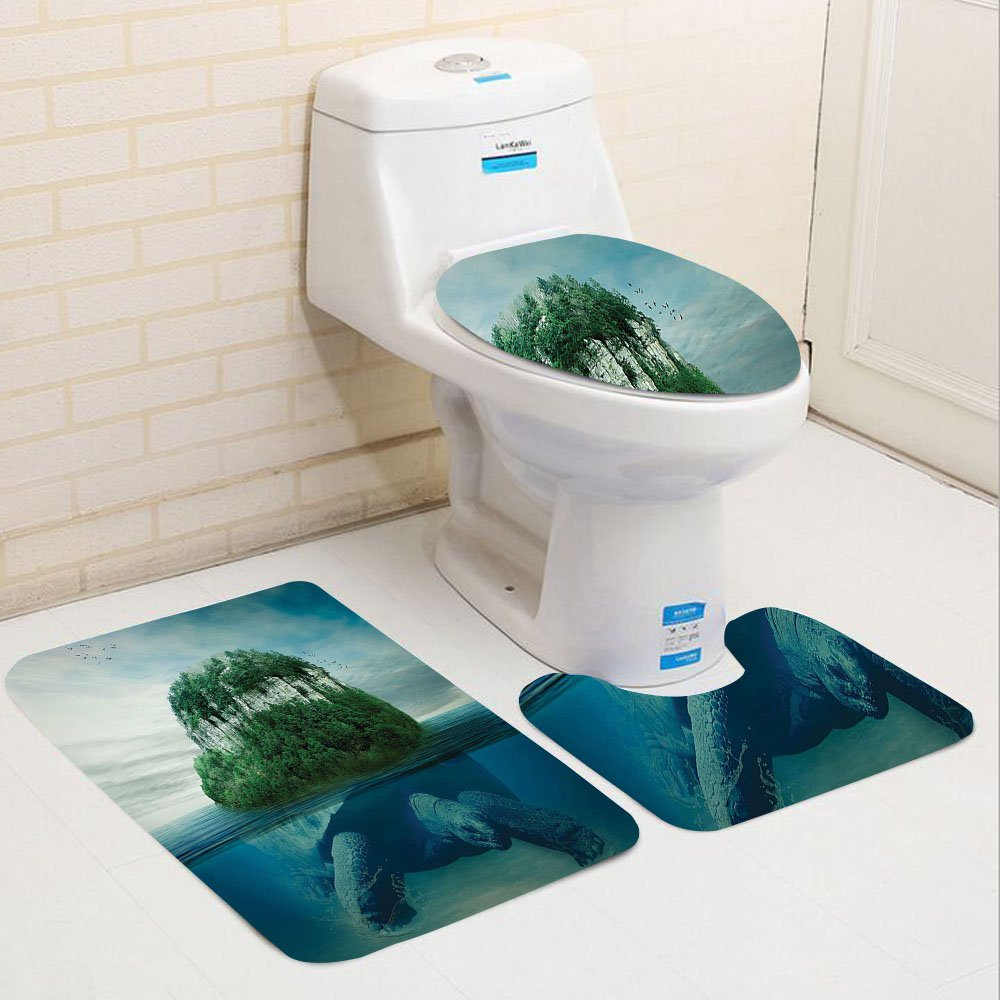 Keshia Dwete three-piece toilet seat pad customSea Animals Collection Giant Turtle Carrying Island on Back Swimming under the Ocean Fantasy Photo Pattern Green Gray