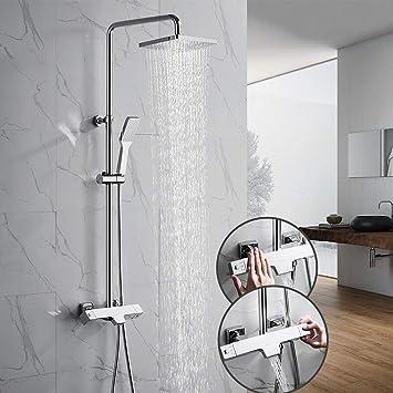 OLEAH Baño Acabado cromado Mezclador termostático de ducha Sistema ...